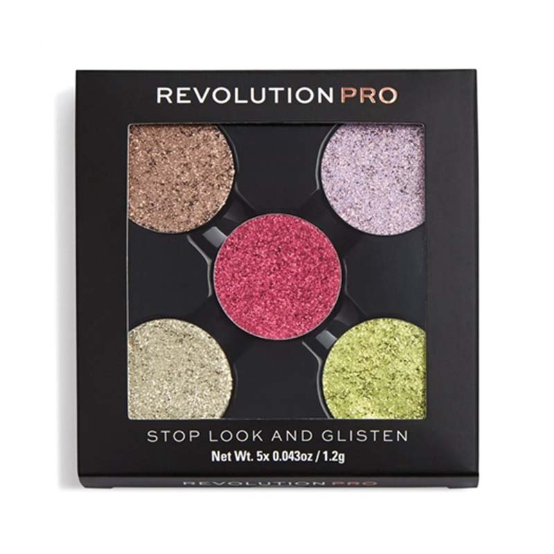 paleta 5 glittere-Refill Pressed Glitter Eyeshadow Pack-Stop Look And Glisten Makeup Revolution PRO